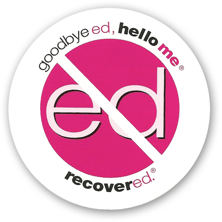 """Goodbye Ed, Hello Me<sup>®</sup>/Recovered.<sup>®</sup> 3 ½"""" Round Stickers"""